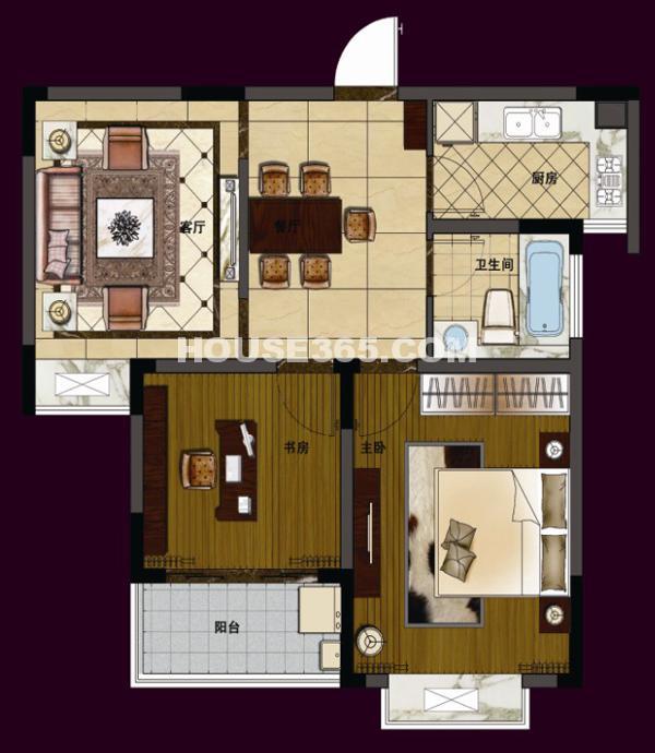 华夏世纪锦园C6/C7/C8/C9#83平米2室2厅1卫户型图