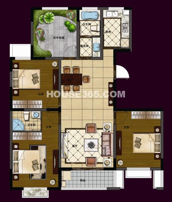 华夏世纪锦园C5#138平米4室2厅2卫户型图