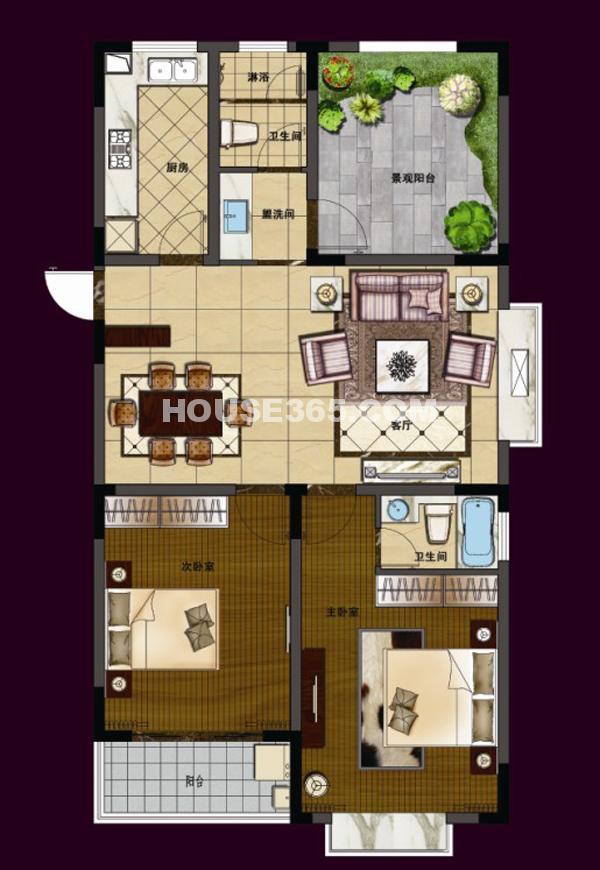 华夏世纪锦园C7/C8#122平米3室2厅2卫户型图