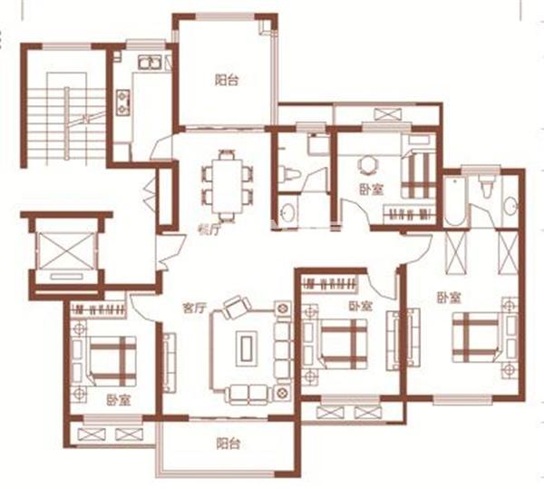 枫林学府D2-2户型 四室两厅两卫 135.02㎡