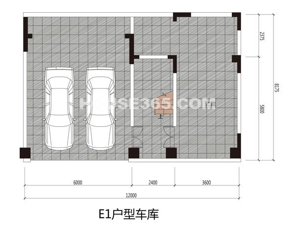 阳光100汀枫渡e1型别墅车库平面图