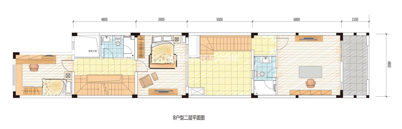 阳光100汀枫渡b型别墅二层平面图