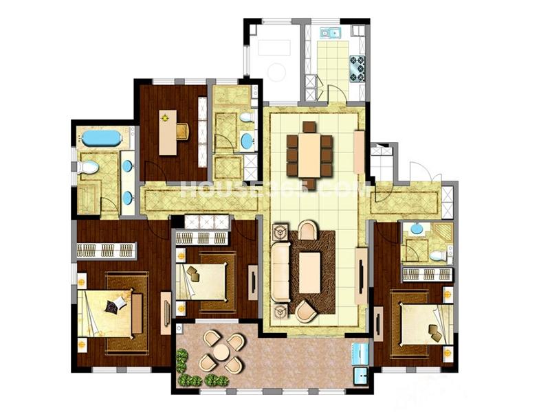 新城首府二期户型四室两厅三卫