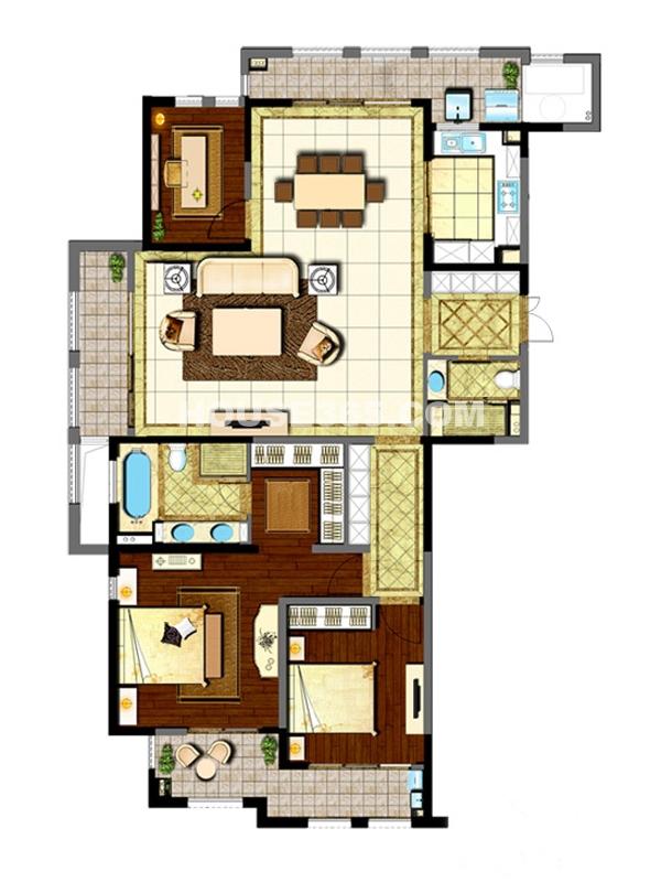 新城首府二期户型三室两厅两卫