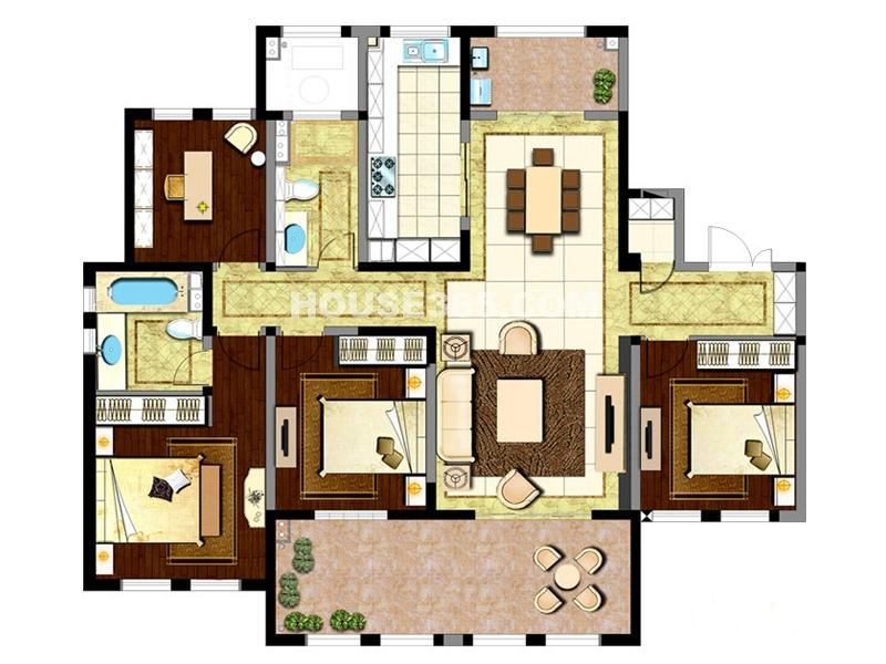 新城首府二期户型四室两厅两卫