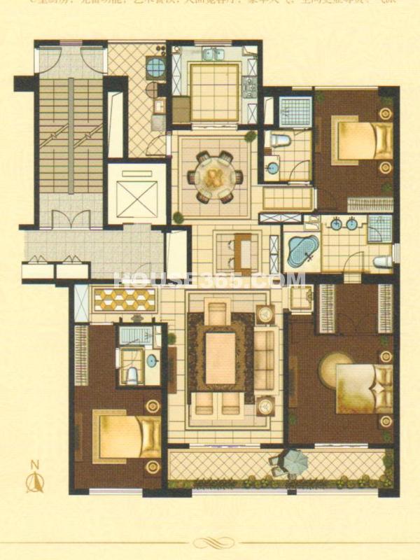 观澜A1户型 3房2厅3卫