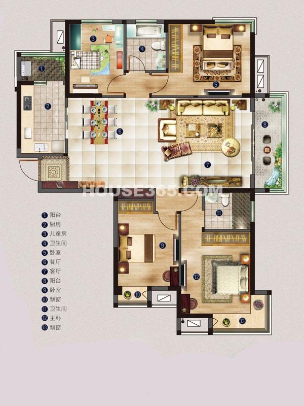 名邸2#A户型-四室两厅一厨两卫-建筑面积约139平米