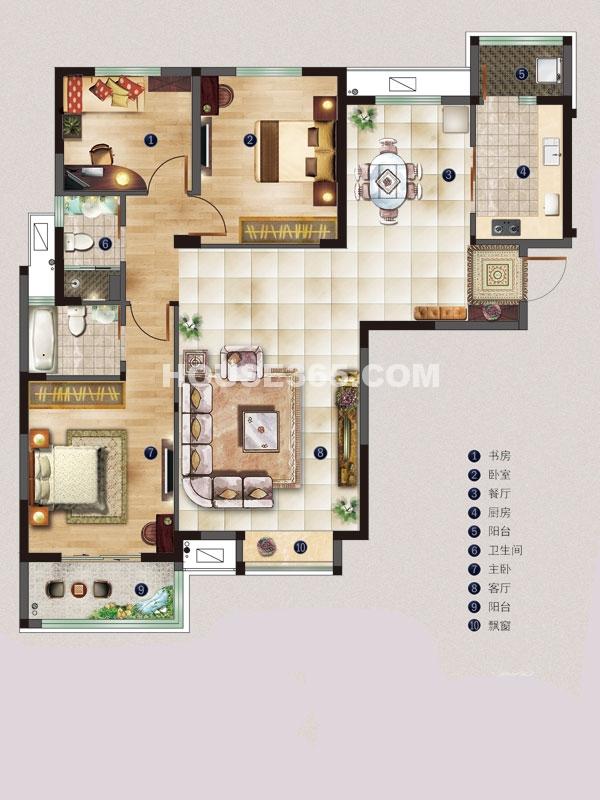 名邸2#C户型-三室两厅一厨两卫-建筑面积约121平米