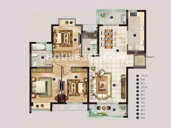 名邸4#C户型-三室两厅一厨两卫-建筑面积约129平米