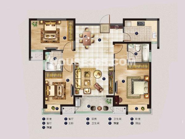 名邸4#B户型-三室两厅一厨两卫-建筑面积约115平米