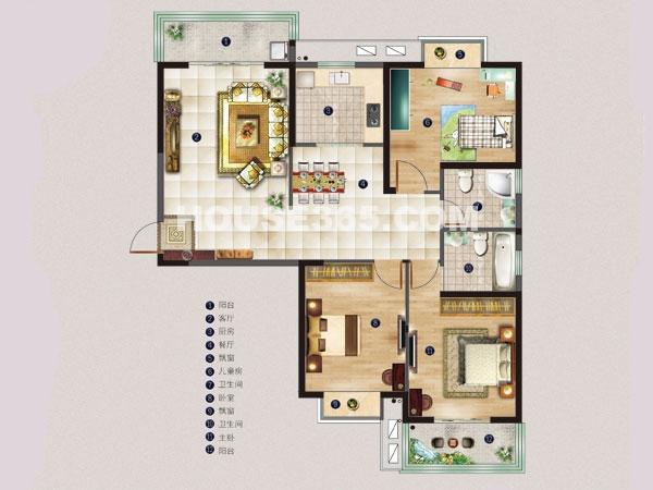 名邸3#A户型-三房两厅一厨两卫-建筑面积约135平米