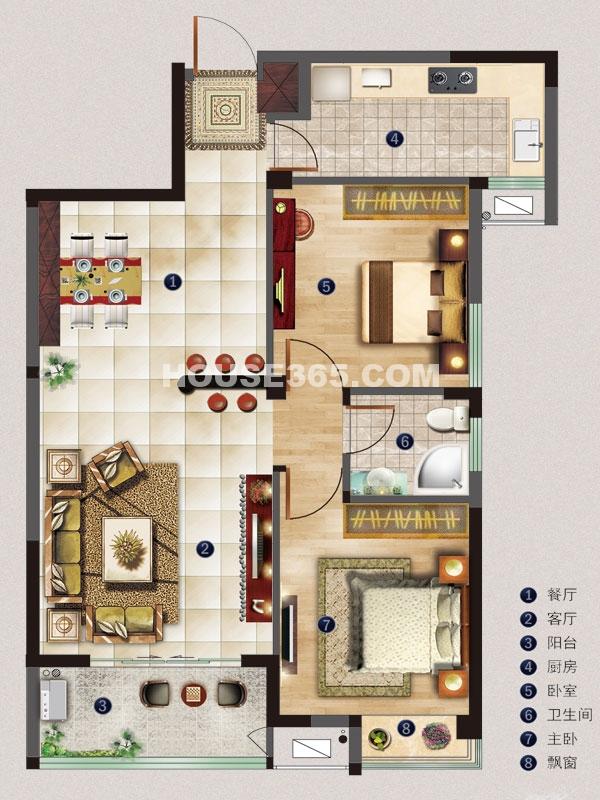 名邸2#B户型-两室两厅一厨一卫-建筑面积约84平米