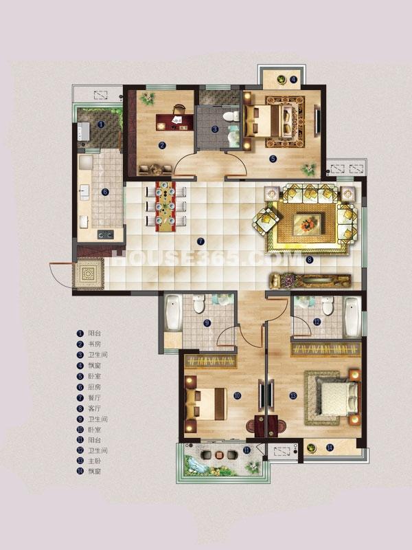 名邸4#A户型-四室两厅一厨三卫-建筑面积约159平米