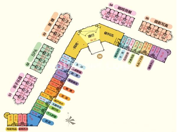 S1-S6别墅商业街业态平面图