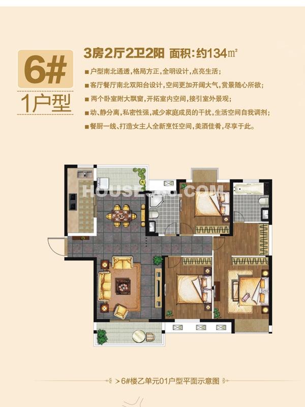 6#楼1户型-三房两厅两卫两阳台
