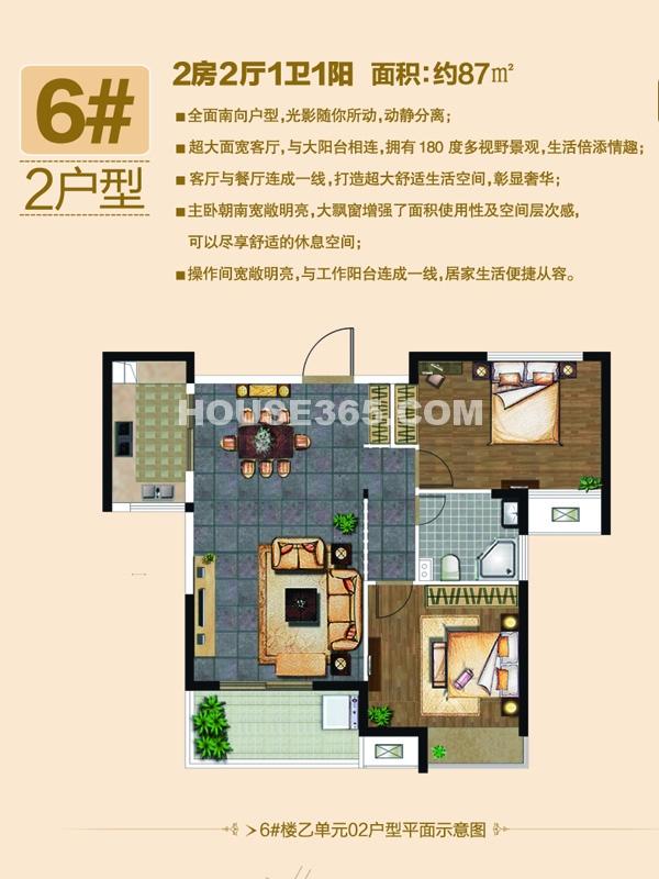 6#楼2户型-两房两厅一卫一阳台