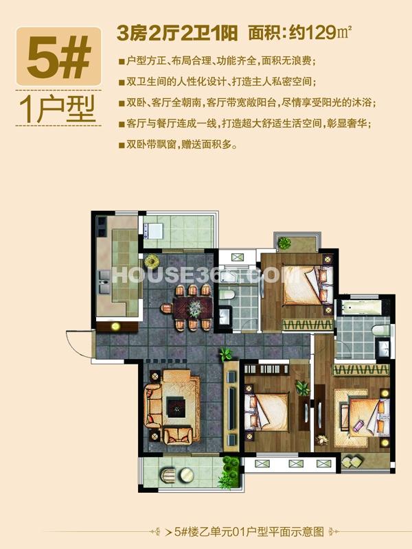 5#1户型-三房两厅两卫一阳台