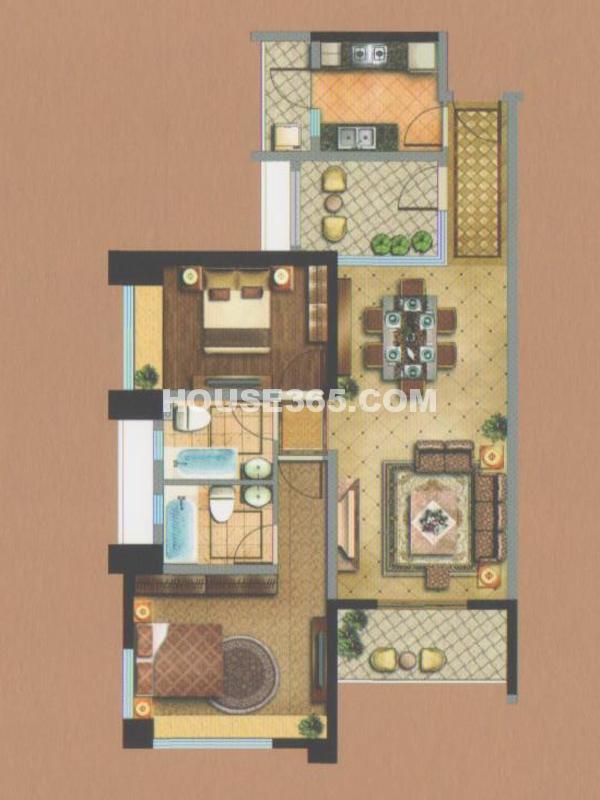 御翠天峯金领公寓-两房两厅两卫+空中花园