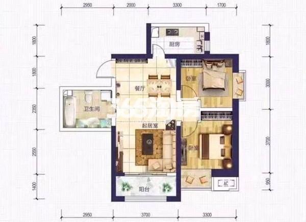 A2户型 两室两厅一厨一卫 80.93㎡