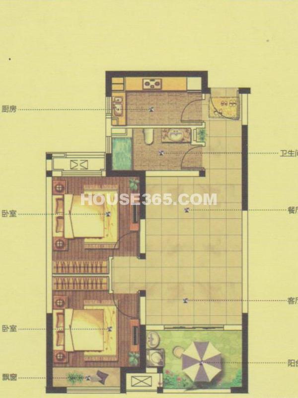 27#、28#楼GB4户型-两室两厅一厨一卫