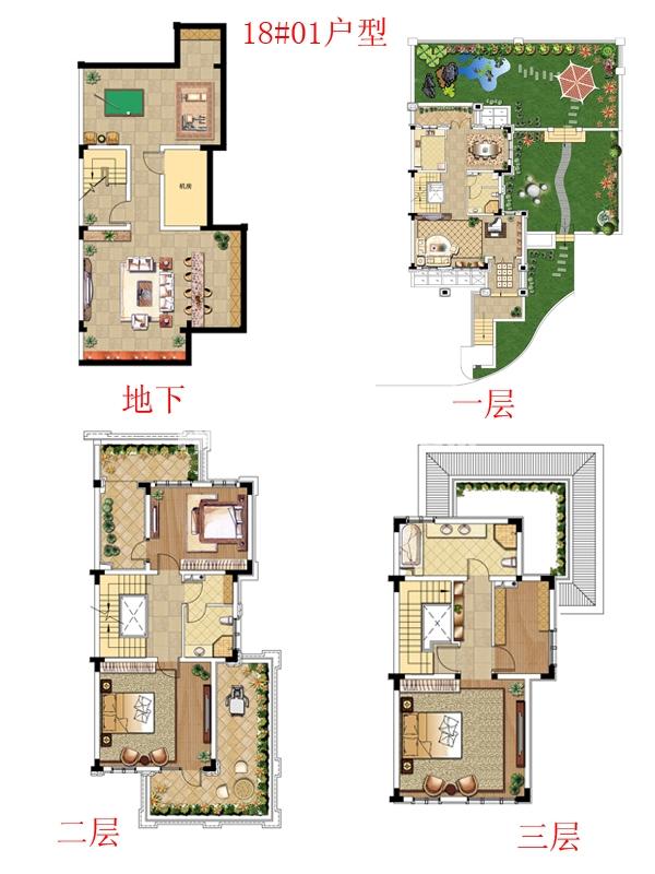 别墅18#01户型-三室三厅三卫