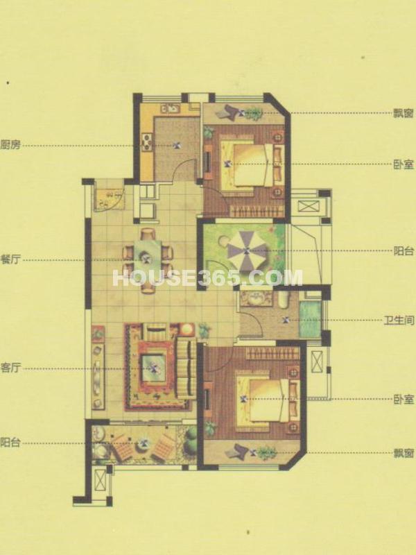 27#、28#楼GC5户型-三室两厅一厨一卫