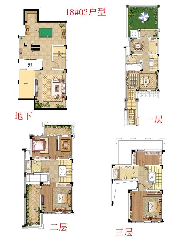 别墅18#02户型-四室三厅三卫287.8㎡