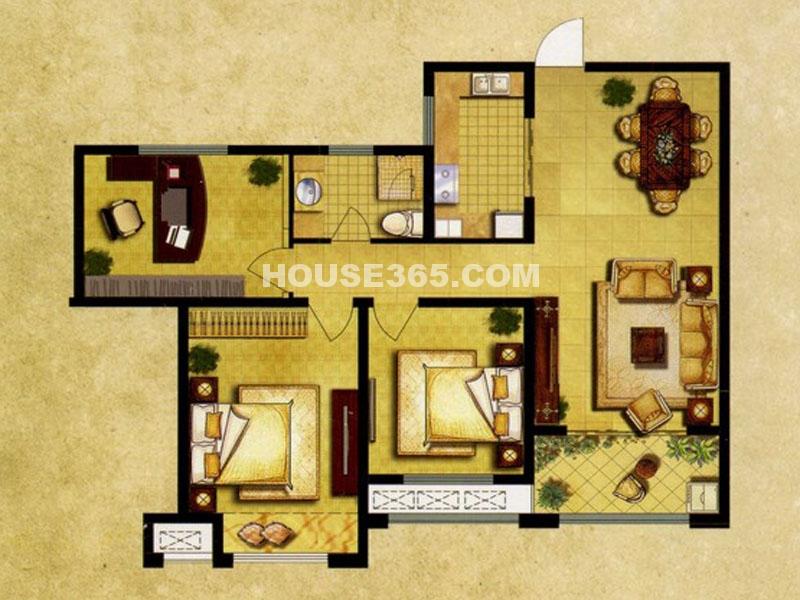 7#楼C户型—三房两厅一卫