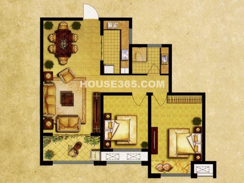 7#楼B户型—两房两厅一卫