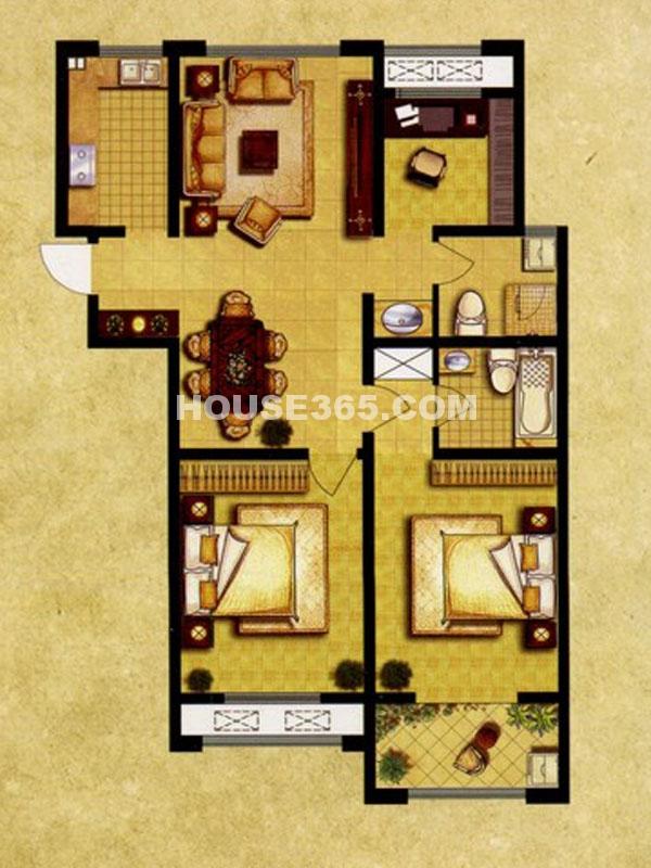 7#楼E户型—三房两厅两卫
