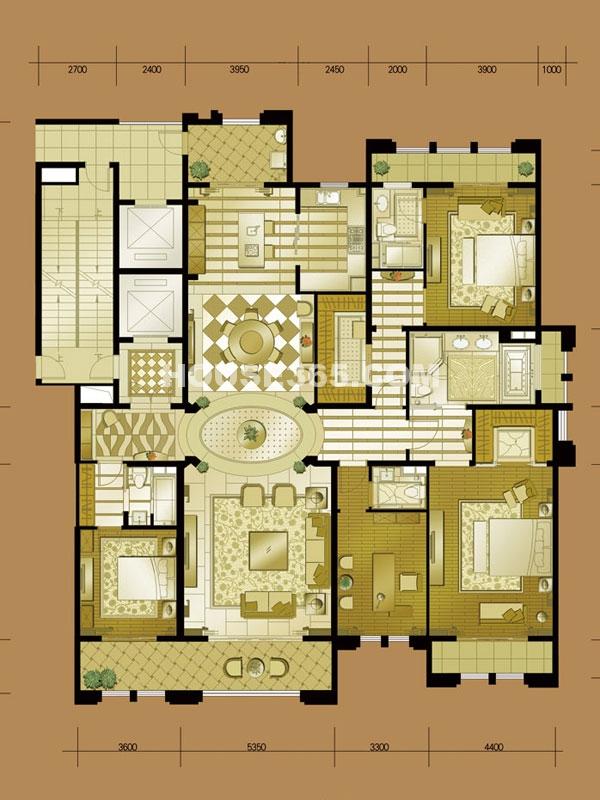 B5# 四室二厅一厨四卫 建筑面积约285㎡