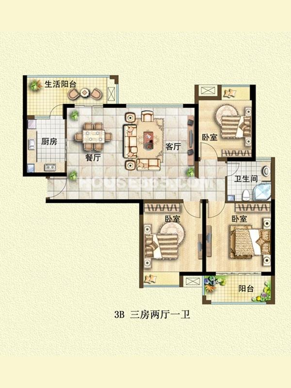 3B户型-三室两厅一卫