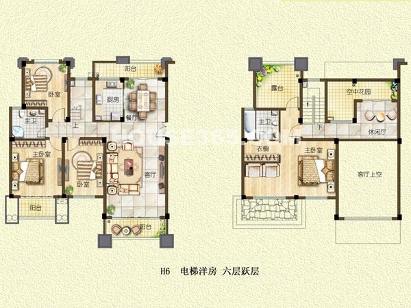 H6户型-电梯洋房-六层跃层-四室两厅一厨两卫