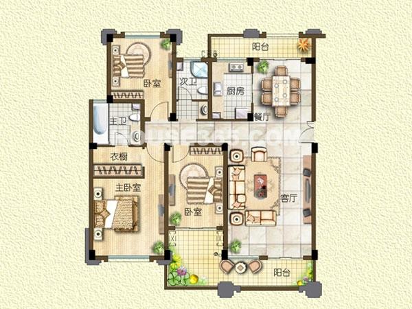H5-电梯洋房-五层-三室两厅一厨两卫
