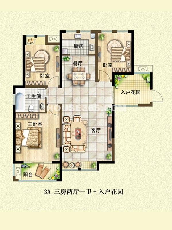 3A户型-三室两厅一卫+入户花园