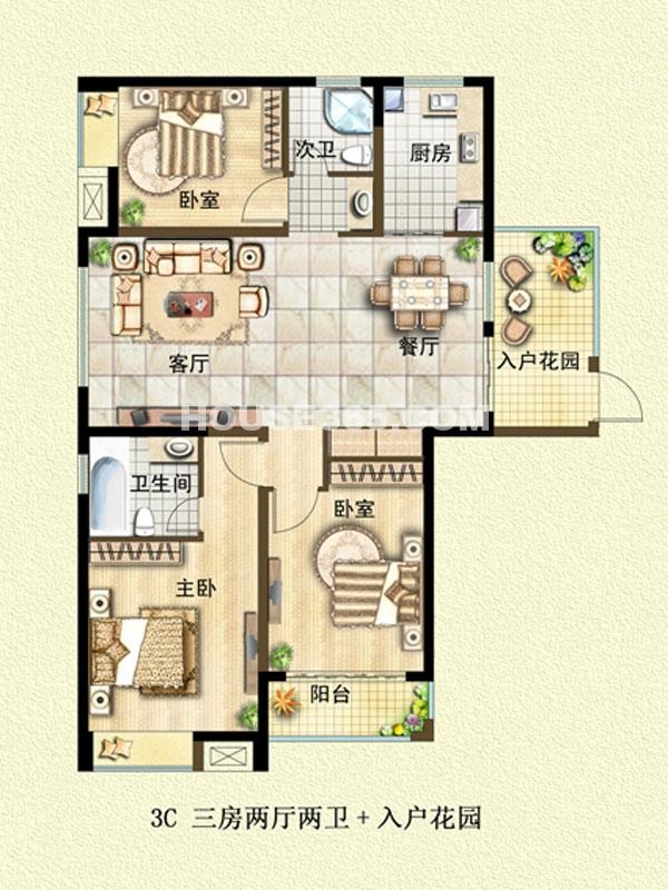 3C户型-三室两厅两卫+入户花园