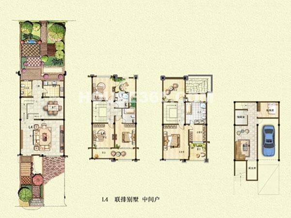 L4户型-联排别墅-中间户