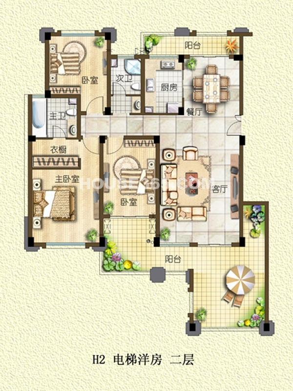 H2户型-电梯洋房-二层-三室两厅一厨两卫