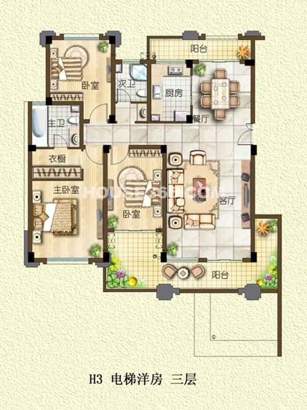 H3户型-电梯洋房-三层-三室两厅一厨两卫