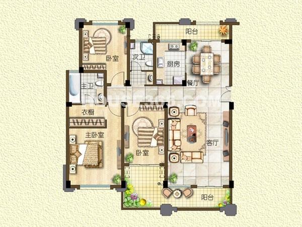 H4户型-电梯洋房-四层-三室两厅一厨两卫