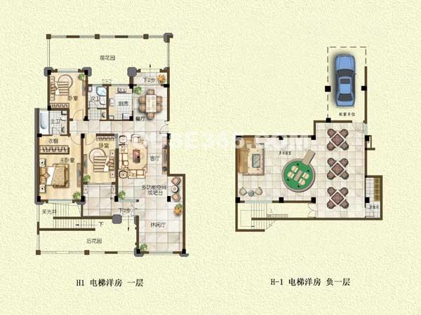 H1户型-电梯洋房-一层-三室两厅一厨两卫