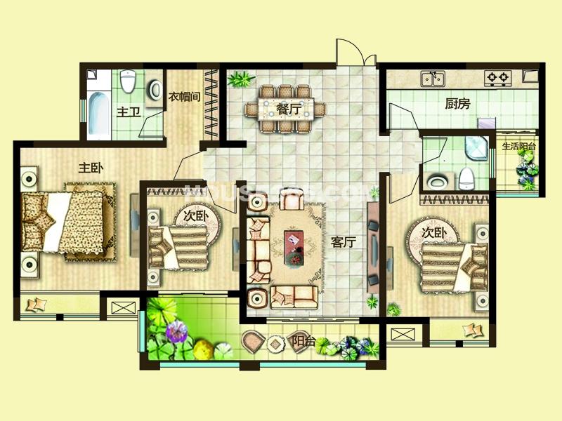 二期3H户型三房两厅