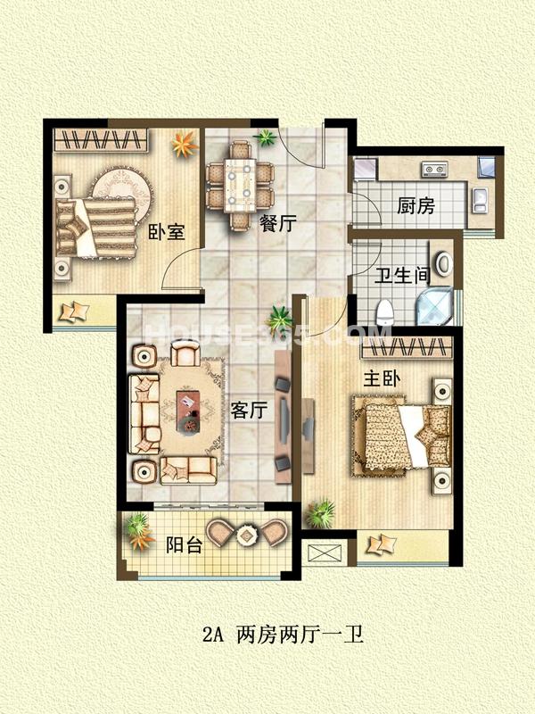 二期2A户型两房两厅