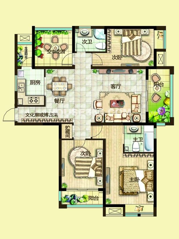 二期3A户型三房两厅+空中花园