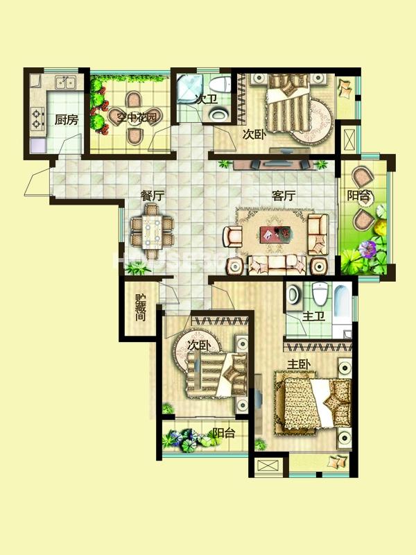 二期3C户型三房两厅+空中花园