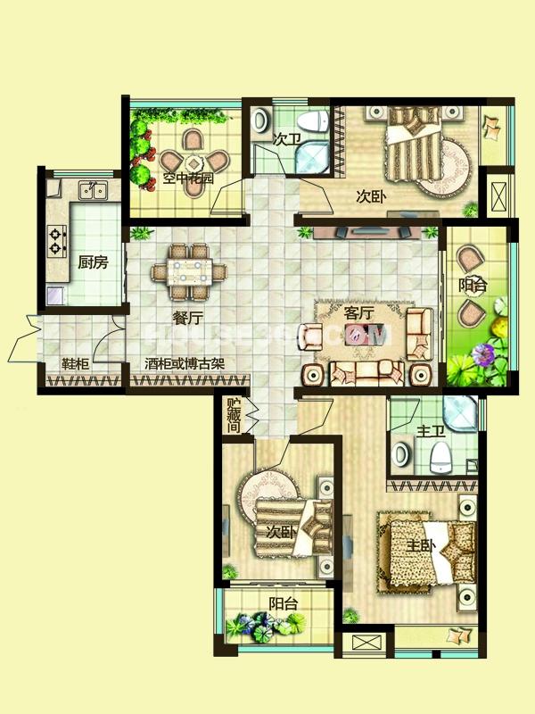 二期3F户型三房两厅+空中花园