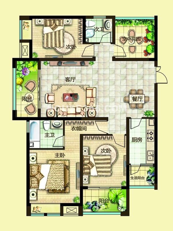 二期3G户型三房两厅+空中花园
