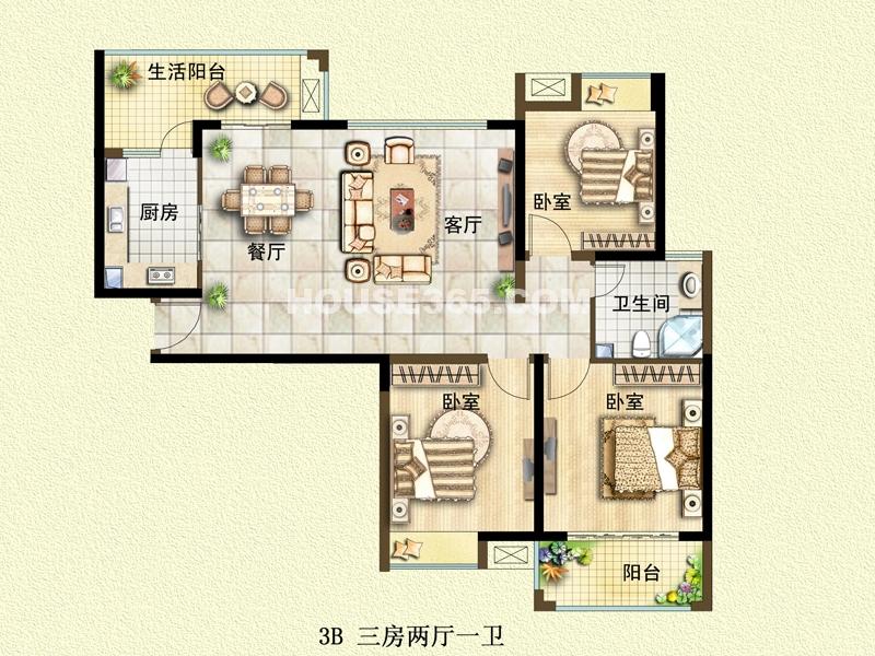 二期3B户型三房两厅