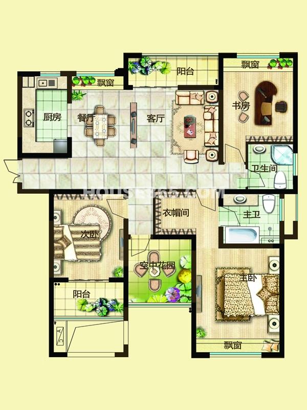 二期3D户型三房两厅两卫+空中花园