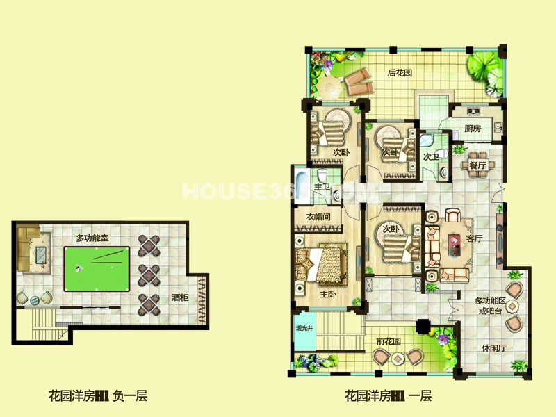 二期花园洋房户型H1(地下96.47㎡,地上153.87㎡)